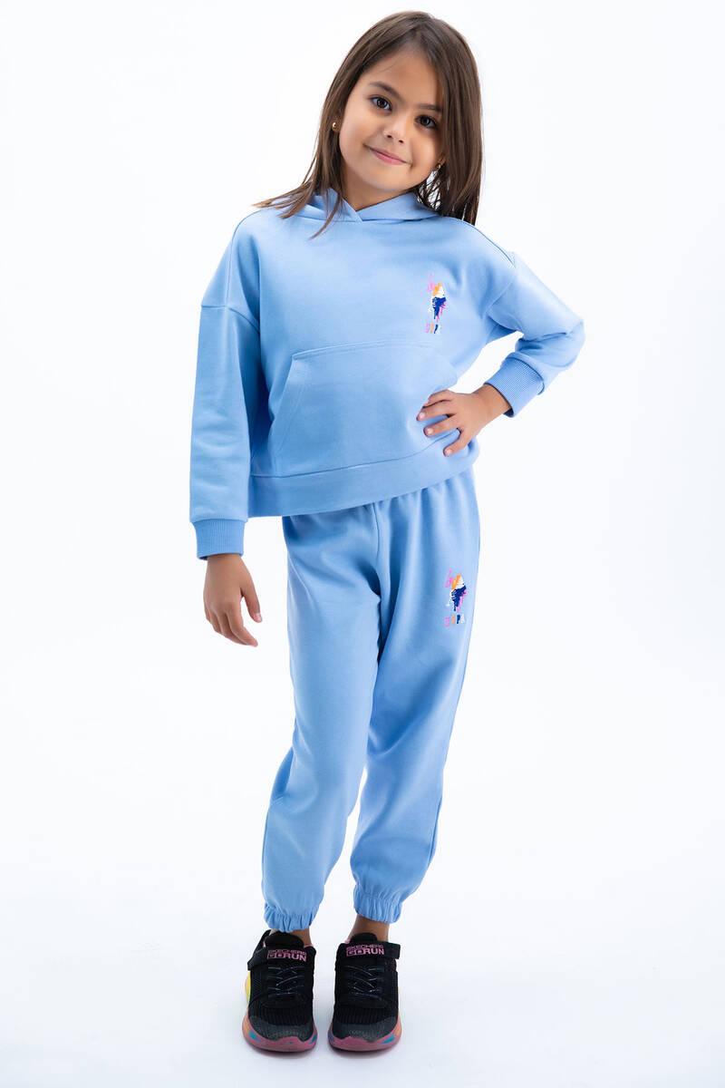 U.S. Polo Assn - U.S Polo Assn Kız Çocuk Basic Bebek Mavisi Kapşonlu Eşofman Takımı (1)