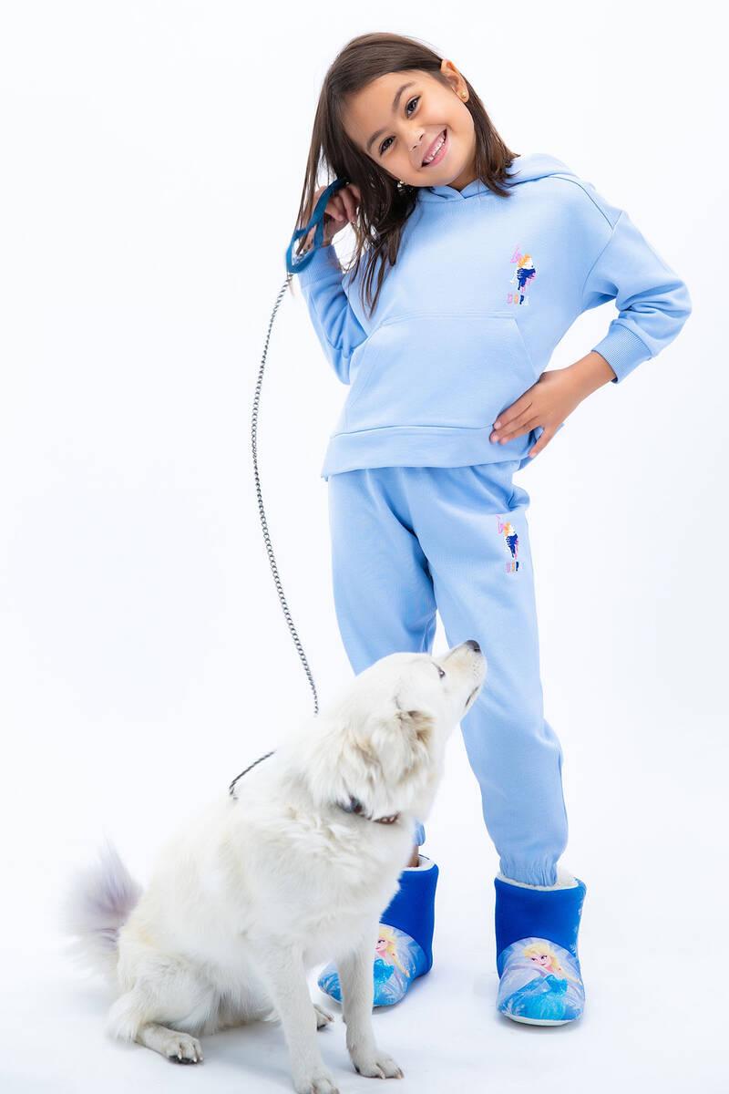 U.S. Polo Assn - U.S Polo Assn Kız Çocuk Basic Bebek Mavisi Kapşonlu Eşofman Takımı