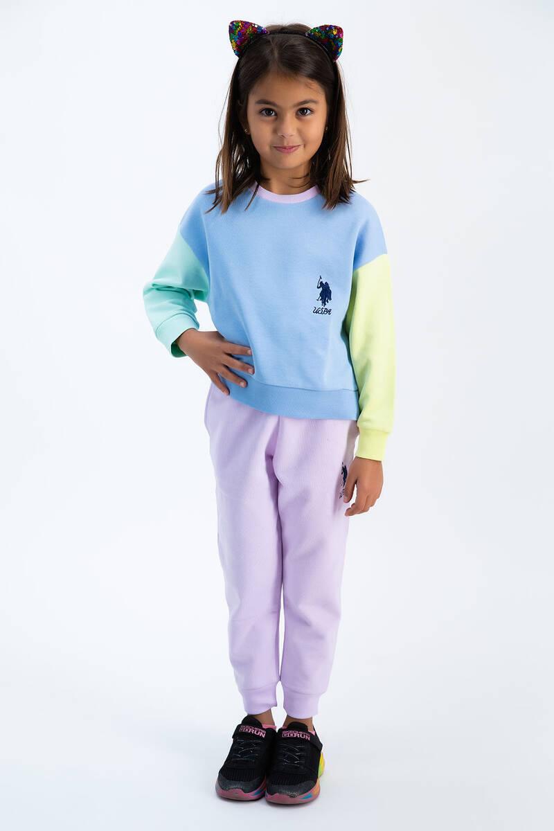 U.S. Polo Assn - U.S. Polo Assn Bebek Mavisi Renkli Bloklu Kız Çocuk Eşofman Takımı
