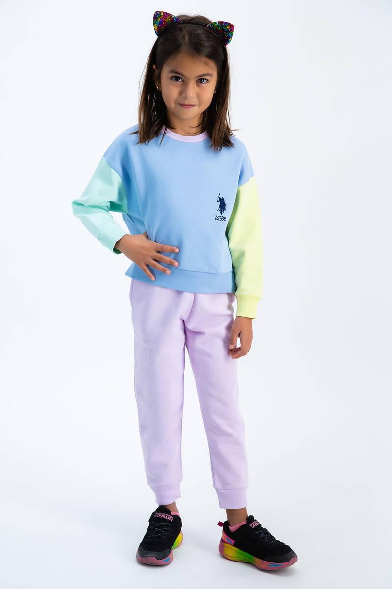 U.S. Polo Assn - U.S. Polo Assn Bebek Mavisi Renkli Bloklu Kız Çocuk Eşofman Takımı (1)