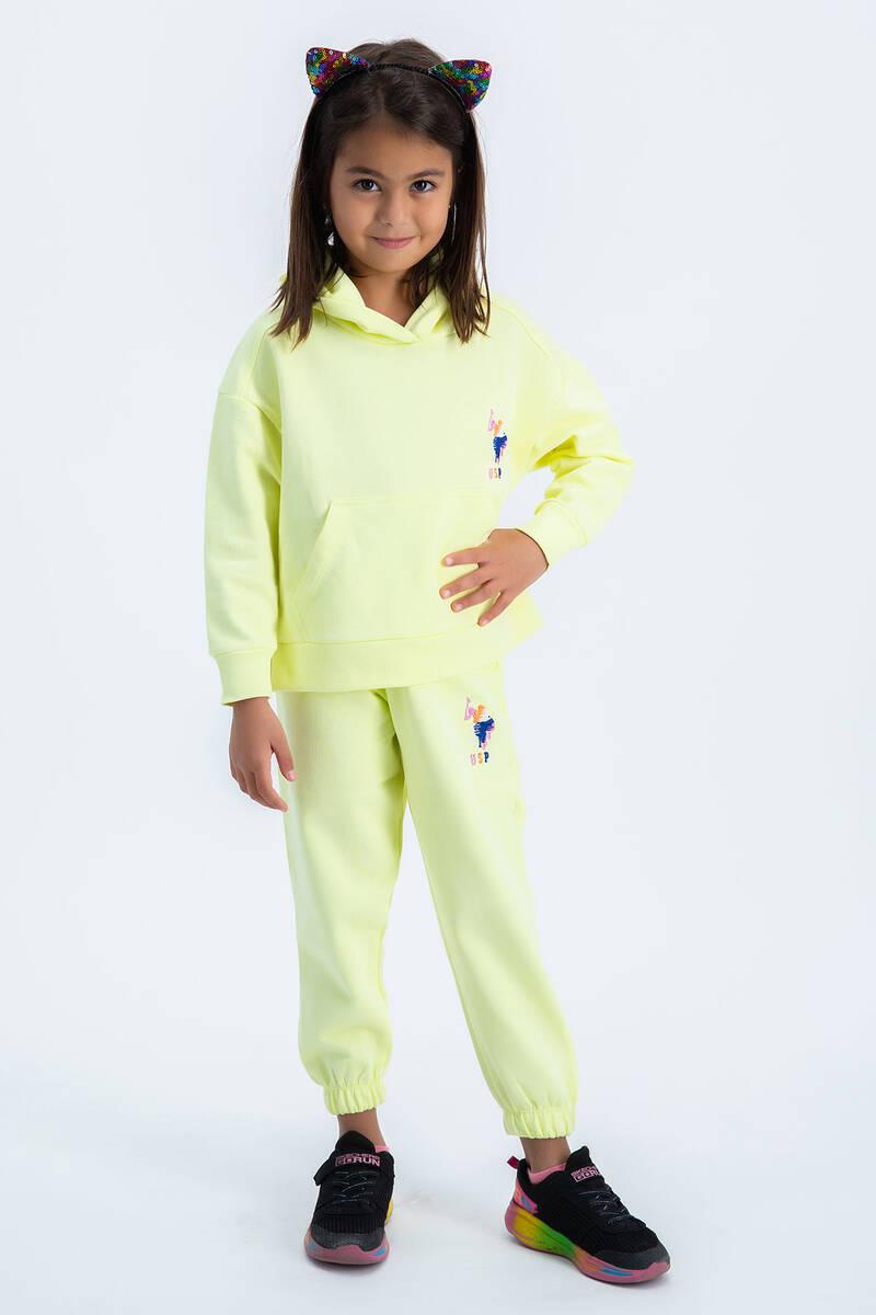 U.S. Polo Assn - U.S Polo Assn Kız Çocuk Basic Neon Sarı Kapşonlu Eşofman Takımı (1)