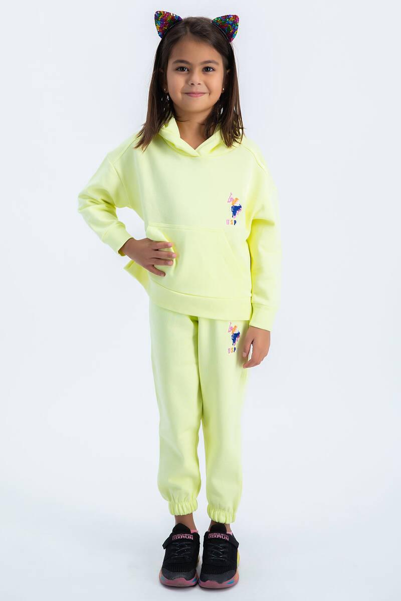 U.S. Polo Assn - U.S Polo Assn Kız Çocuk Basic Neon Sarı Kapşonlu Eşofman Takımı