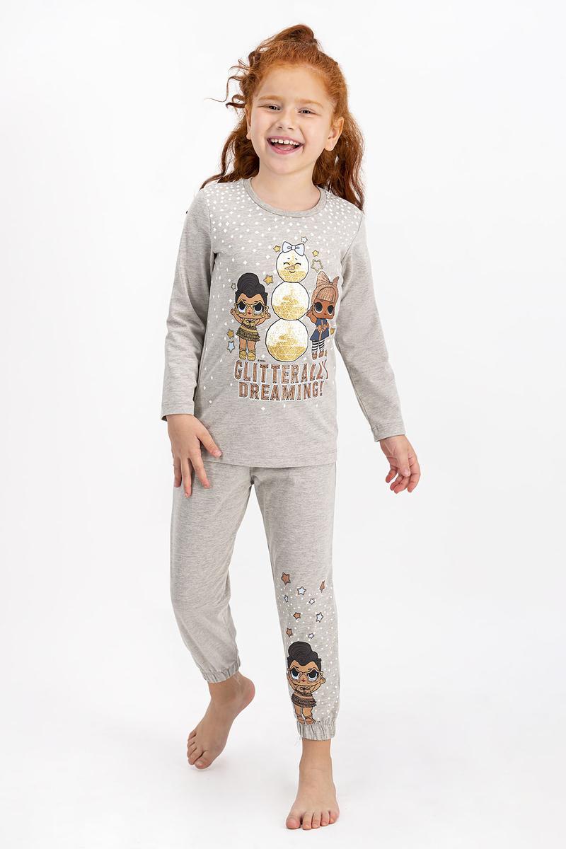 LOL - Lol Lisanslı Bej Melanj Kız Çocuk Pijama Takımı