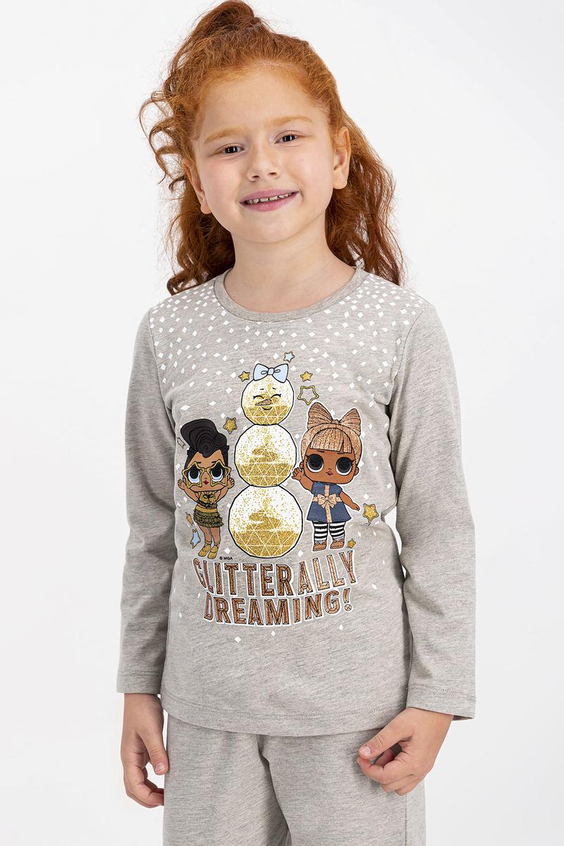 LOL - Lol Lisanslı Bej Melanj Kız Çocuk Pijama Takımı (1)