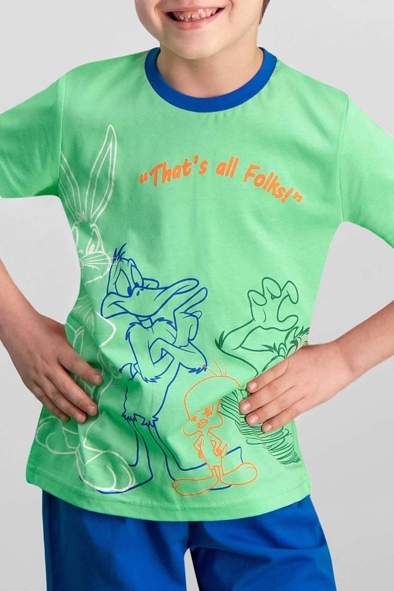 Looney Tunes - Looney Tunes Lisanslı Yeşil Erkek Çocuk Bermuda Takım (1)