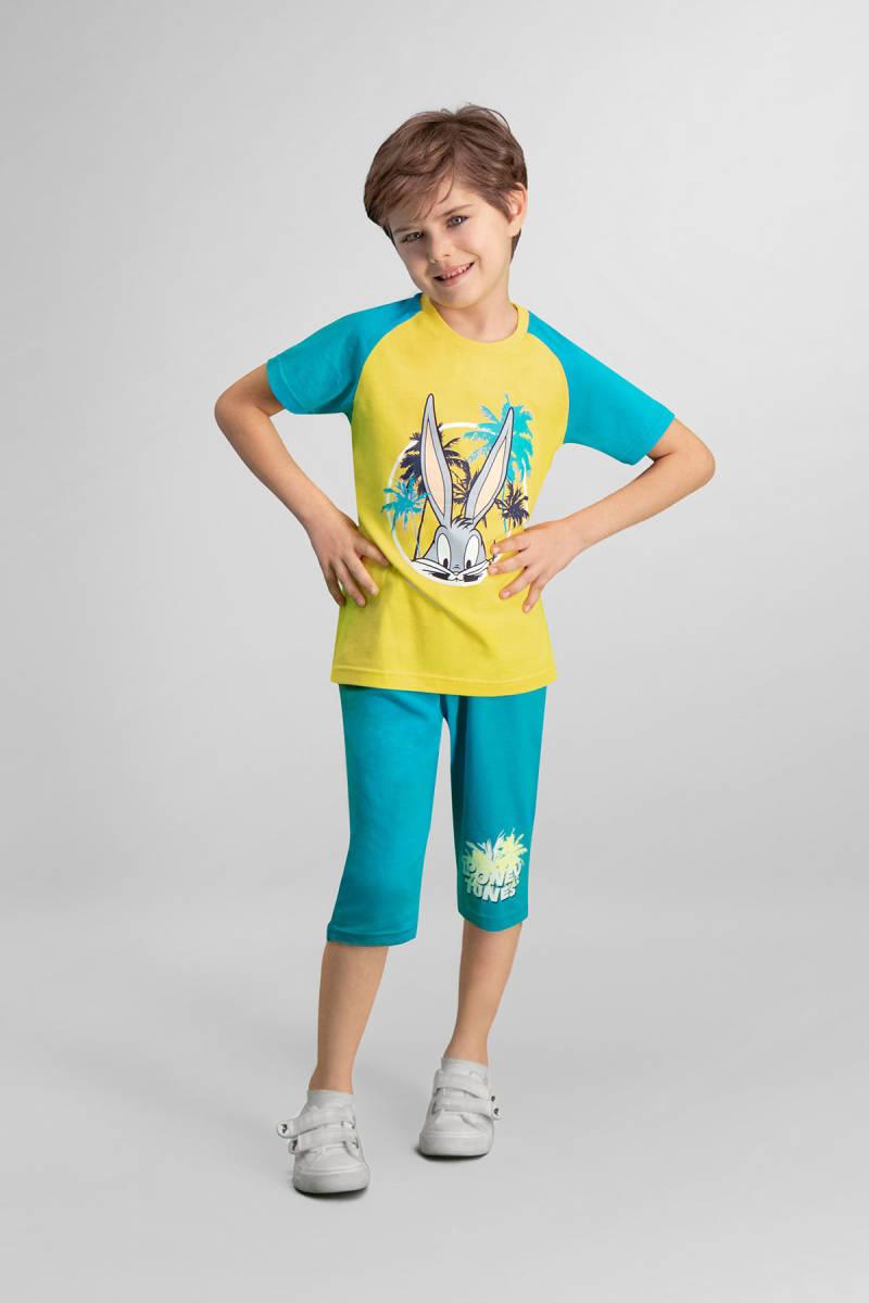 Looney Tunes - Looney Tunes Lola & Bugs Bunny Lisanslı Sarı Erkek Çocuk Kapri Takım