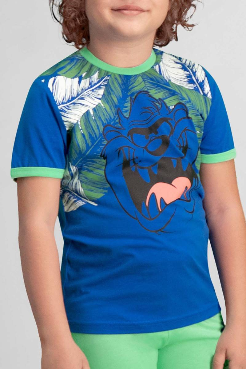 Looney Tunes - Looney Tunes Tazmanya Lisanslı Saks Mavi Erkek Çocuk Kapri Takım (1)