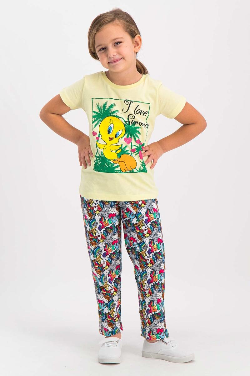 Looney Tunes - Looney Tunes Tweety Lisanslı Açık Sarı Kız Çocuk Pijama Takımı (1)