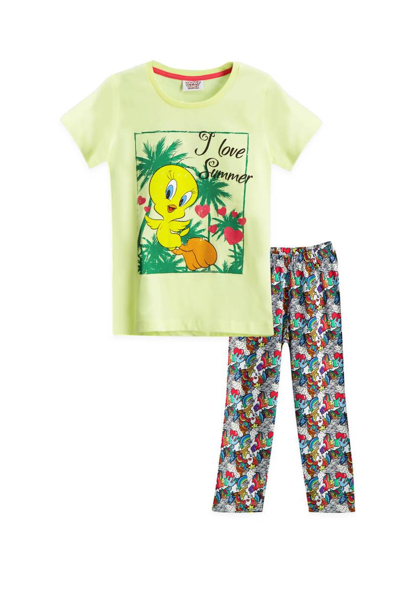 Looney Tunes - Looney Tunes Tweety Lisanslı Açık Sarı Kız Çocuk Pijama Takımı