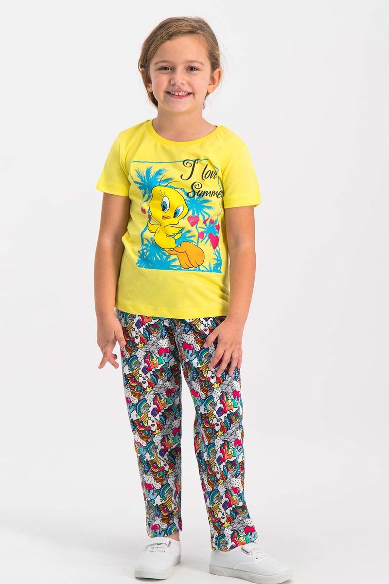 Looney Tunes - Looney Tunes Tweety Lisanslı Koyu Sarı Kız Çocuk Pijama Takımı (1)