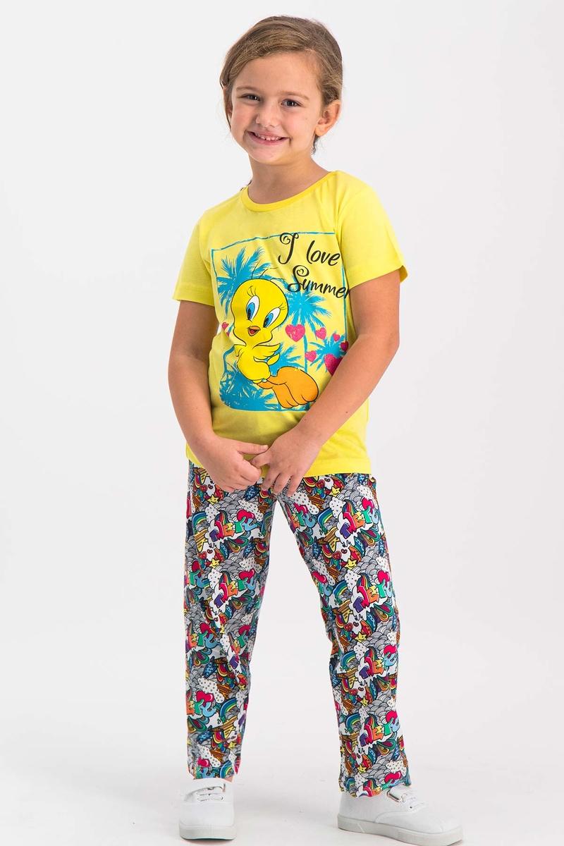 Looney Tunes - Looney Tunes Tweety Lisanslı Koyu Sarı Kız Çocuk Pijama Takımı
