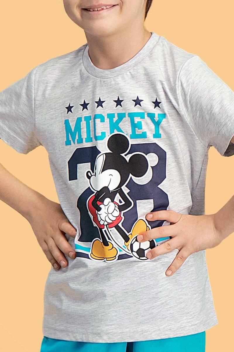 Mickey Mouse - Mickey & Minnie Mouse Lisanslı Açık Gri Erkek Çocuk Bermuda Takım (1)