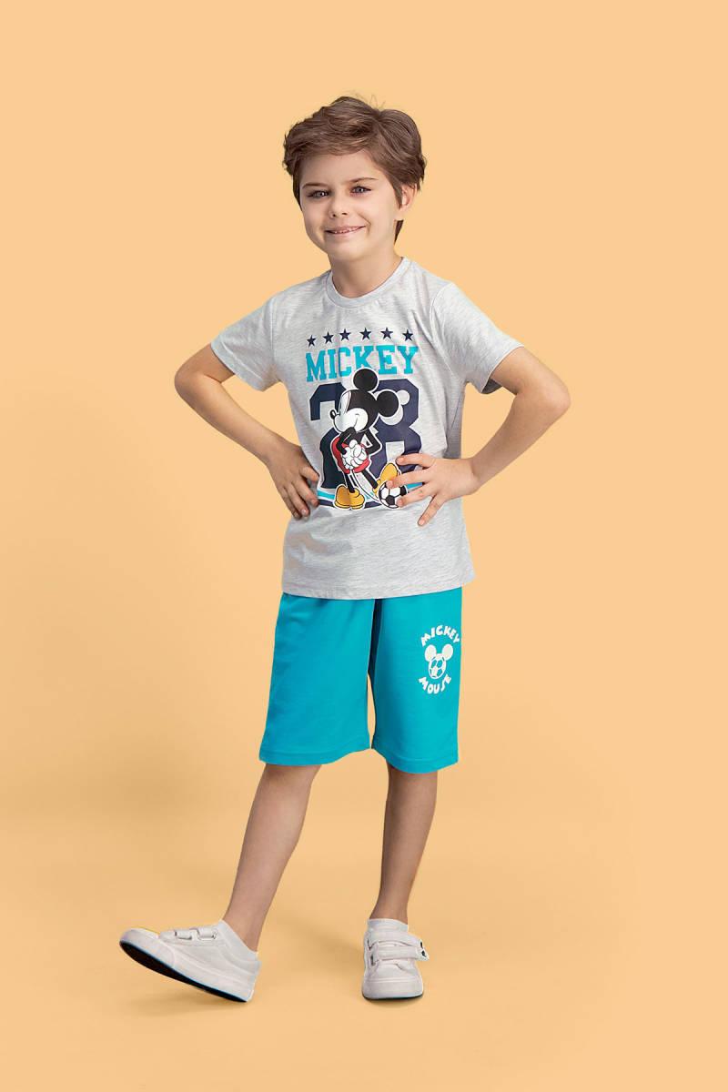 Mickey Mouse - Mickey & Minnie Mouse Lisanslı Açık Gri Erkek Çocuk Bermuda Takım
