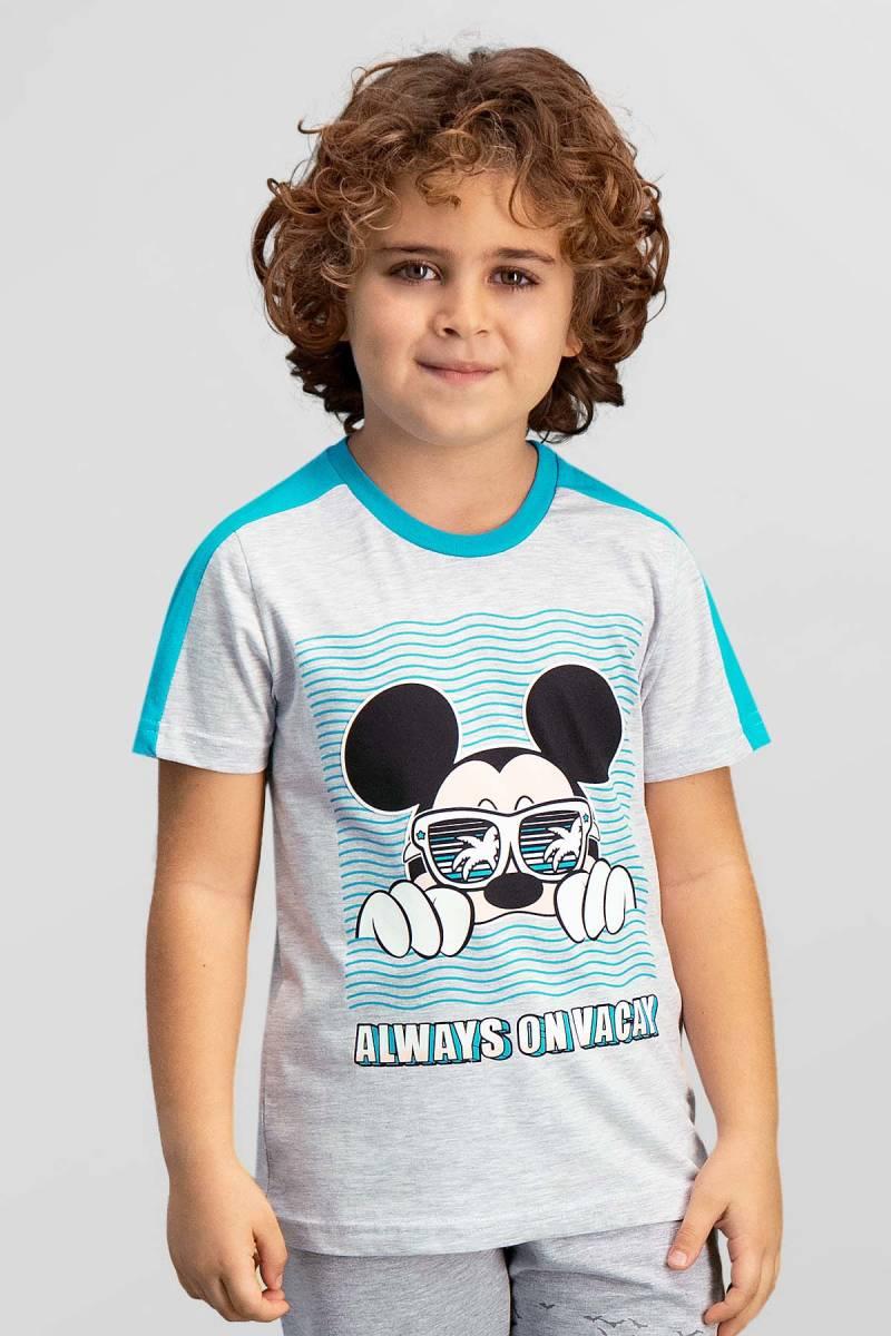 Mickey Mouse - Mickey & Minnie Mouse Lisanslı Açık Gri Erkek Çocuk T-Shirt