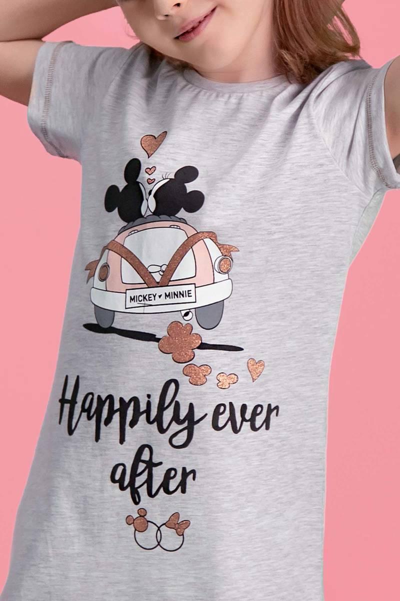 Minnie Mouse - Mickey & Minnie Mouse Lisanslı Açık Gri Kız Çocuk Gecelik (1)