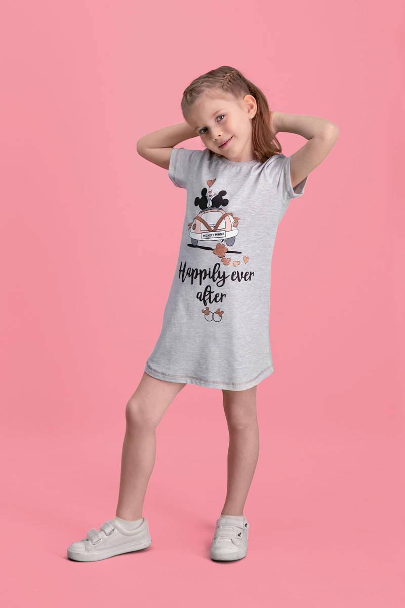 Minnie Mouse - Mickey & Minnie Mouse Lisanslı Açık Gri Kız Çocuk Gecelik