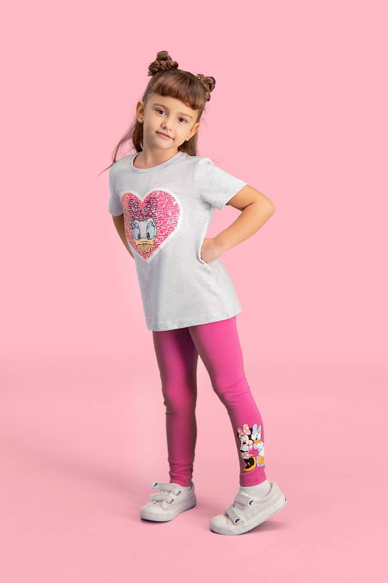 Minnie Mouse - Mickey & Minnie Mouse Lisanslı Açık Gri Kız Çocuk Pijama Takımı