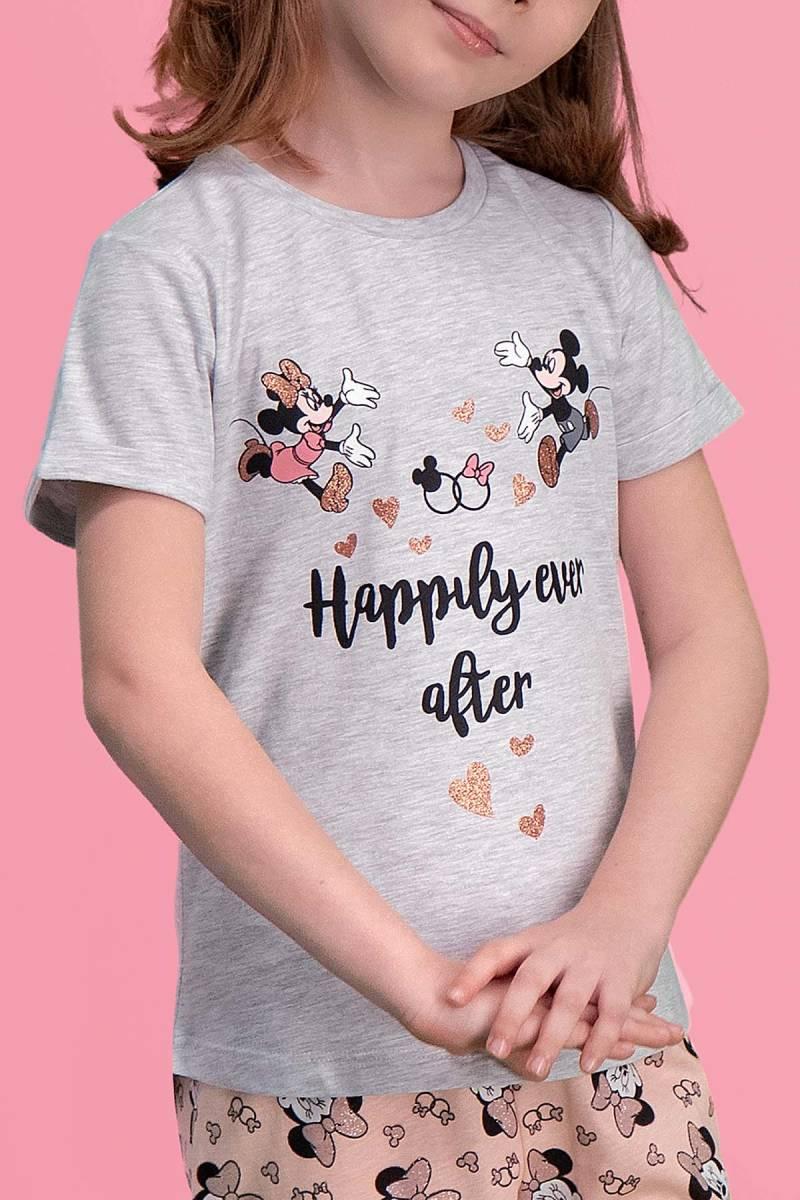 Minnie Mouse - Mickey & Minnie Mouse Lisanslı Açık Gri Kız Çocuk Pijama Takımı (1)
