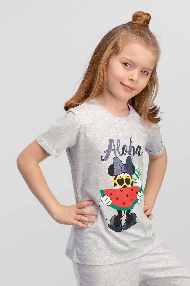 Minnie Mouse - Mickey & Minnie Mouse Lisanslı Açık Gri Kız Çocuk T-Shirt