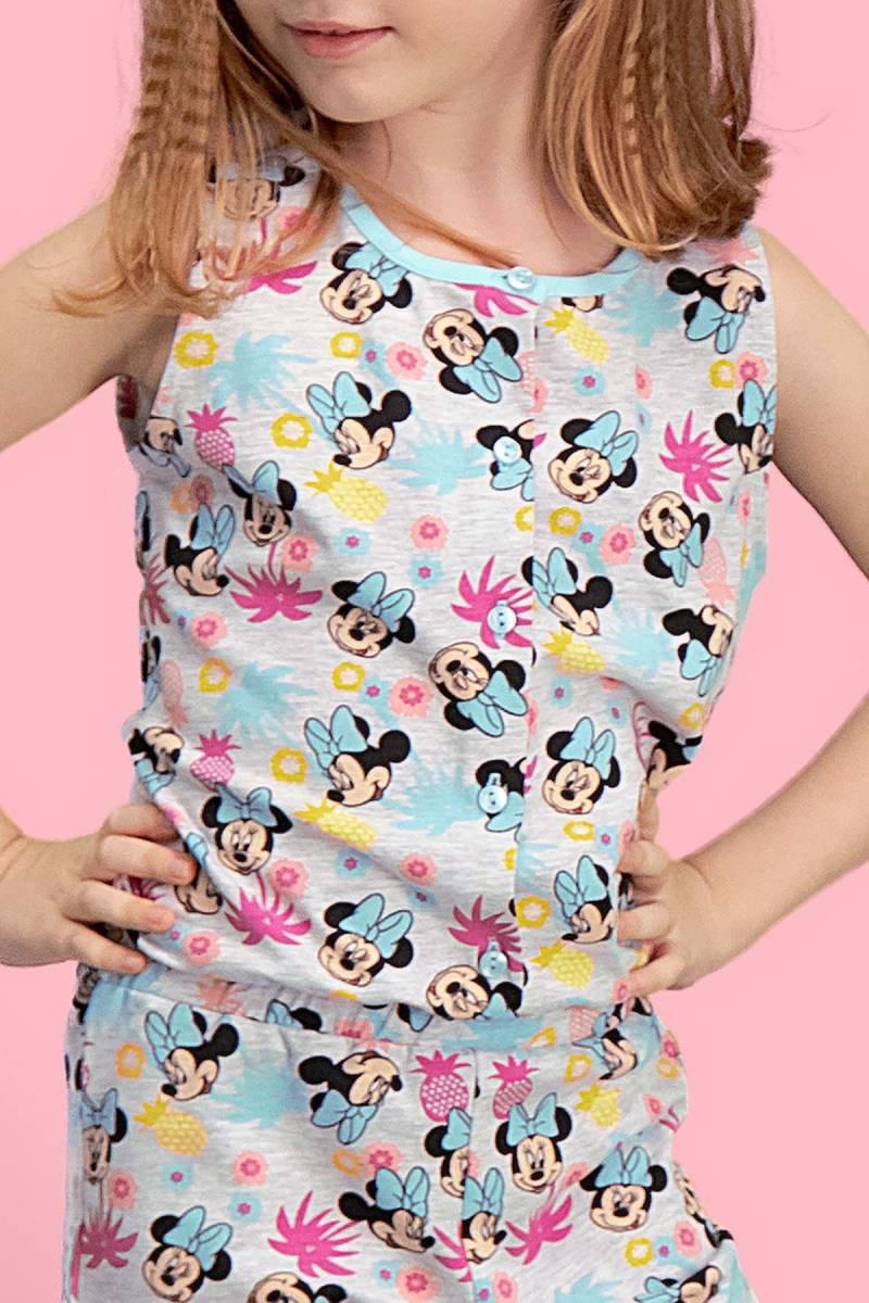 Minnie Mouse - Mickey & Minnie Mouse Lisanslı Açık Gri Kız Çocuk Tulum (1)