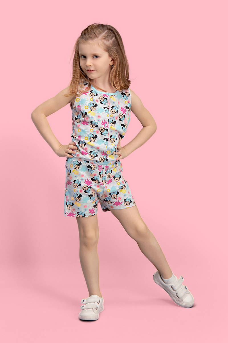 Minnie Mouse - Mickey & Minnie Mouse Lisanslı Açık Gri Kız Çocuk Tulum
