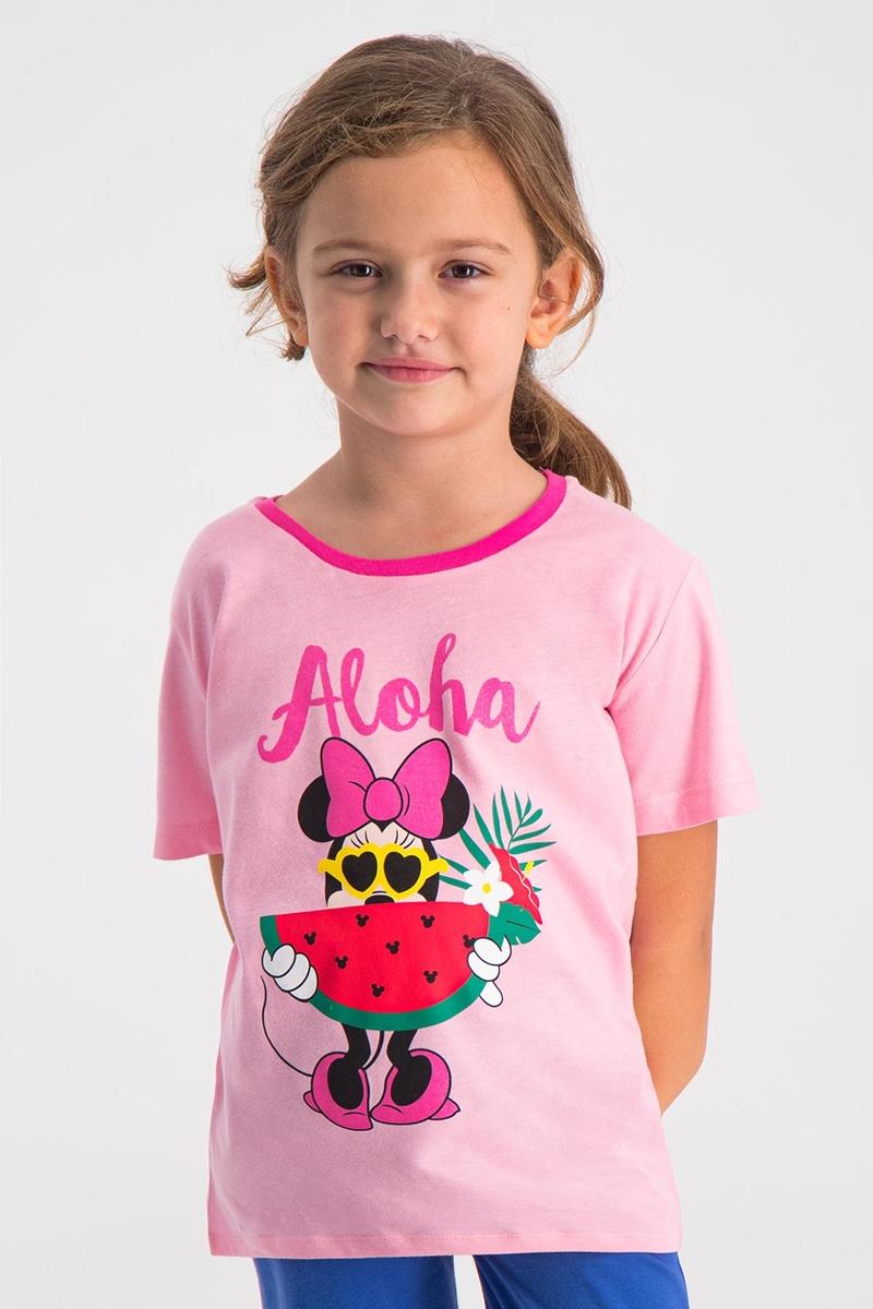 Minnie Mouse - Mickey & Minnie Mouse Lisanslı Açık Pembe Kız Çocuk T-Shirt