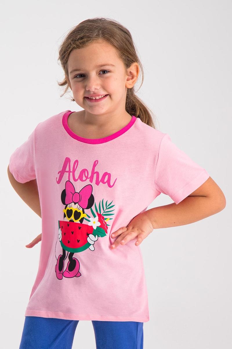 Minnie Mouse - Mickey & Minnie Mouse Lisanslı Açık Pembe Kız Çocuk T-Shirt (1)