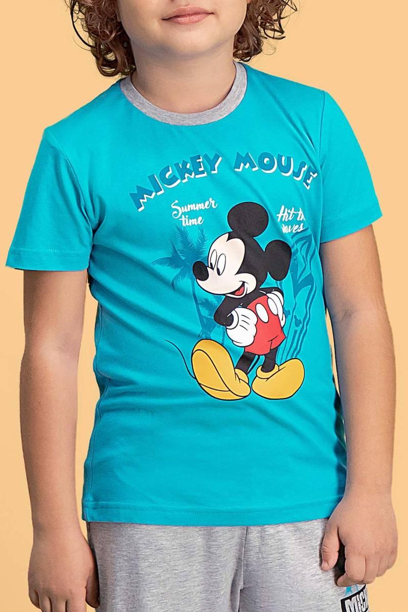 Mickey Mouse - Mickey & Minnie Mouse Lisanslı Deniz Mavisi Erkek Çocuk Kapri Takım (1)