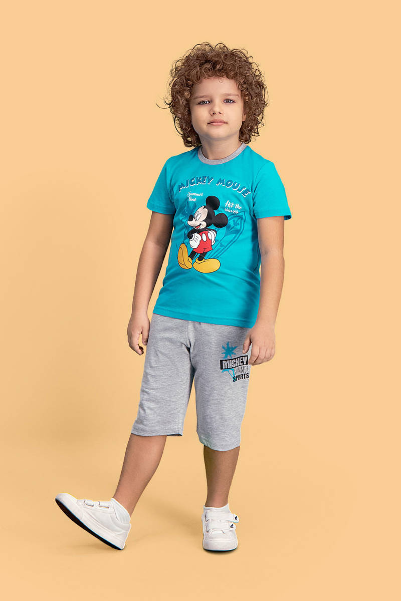 Mickey Mouse - Mickey & Minnie Mouse Lisanslı Deniz Mavisi Erkek Çocuk Kapri Takım