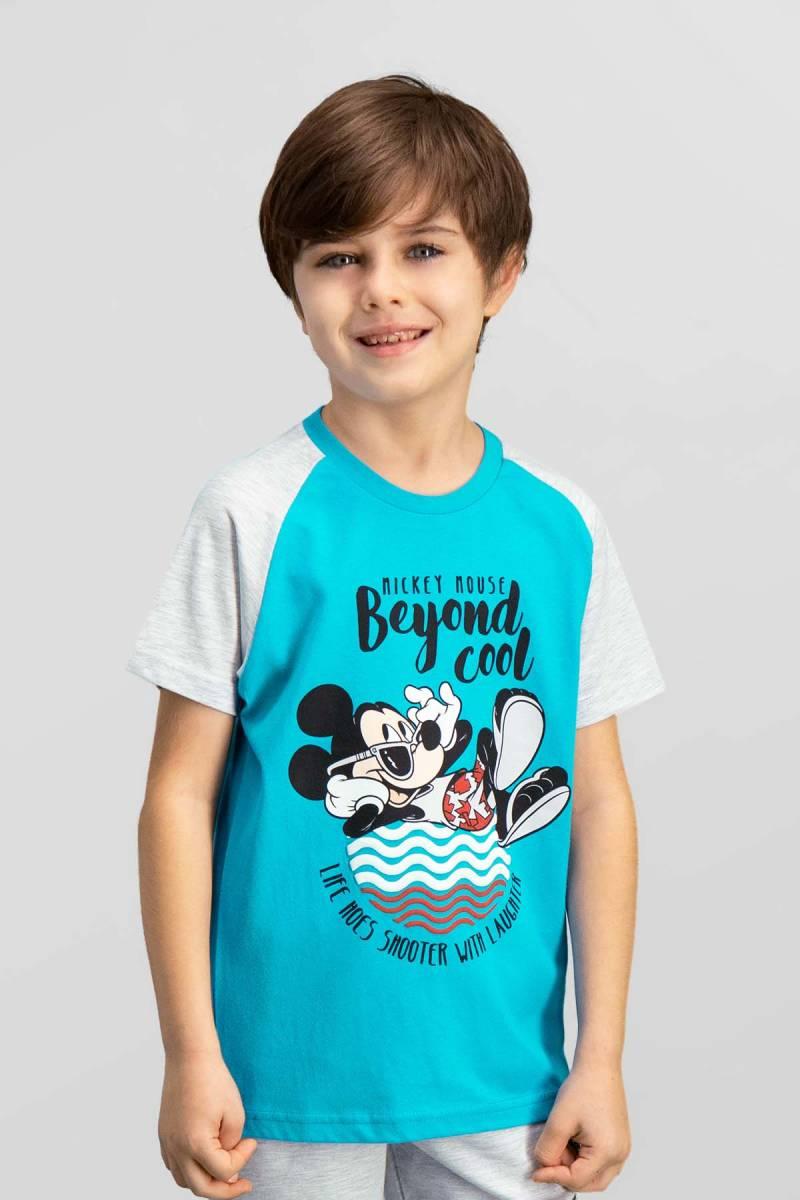 Mickey Mouse - Mickey & Minnie Mouse Lisanslı Deniz Mavisi Erkek Çocuk T-Shirt