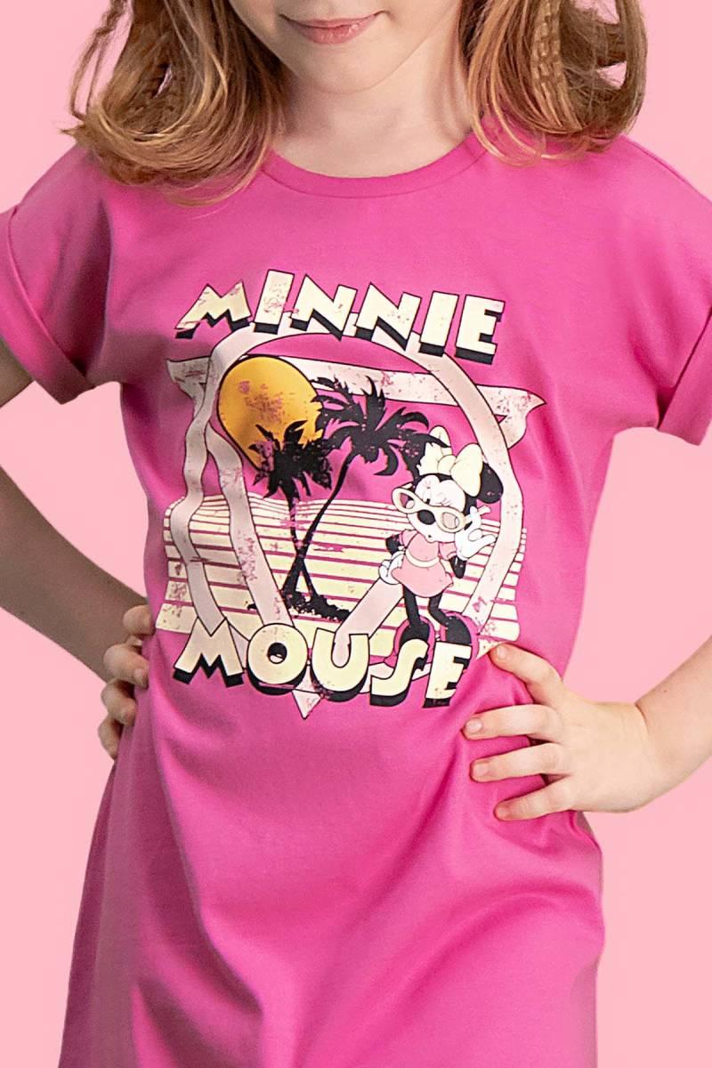 Minnie Mouse - Mickey & Minnie Mouse Lisanslı Fuşya Kız Çocuk Gecelik (1)