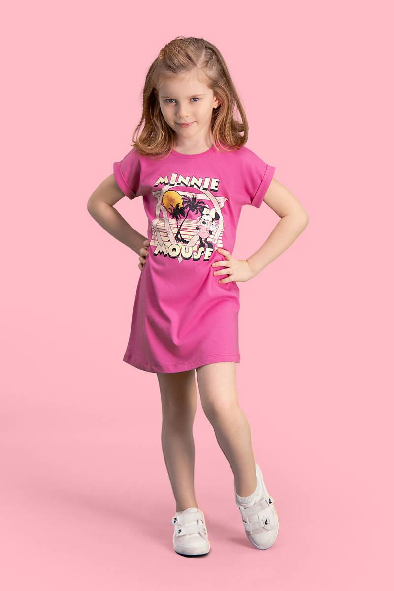 Minnie Mouse - Mickey & Minnie Mouse Lisanslı Fuşya Kız Çocuk Gecelik