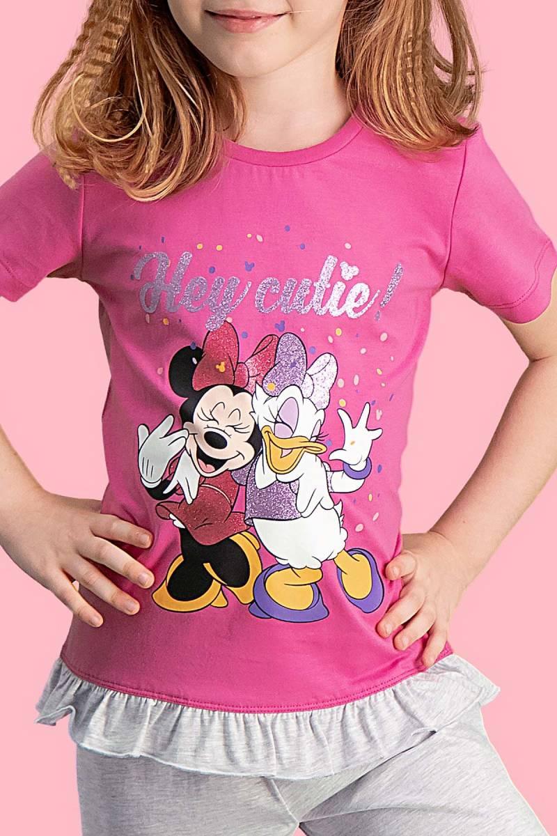 Minnie Mouse - Mickey & Minnie Mouse Lisanslı Fuşya Kız Çocuk Kapri Takım (1)