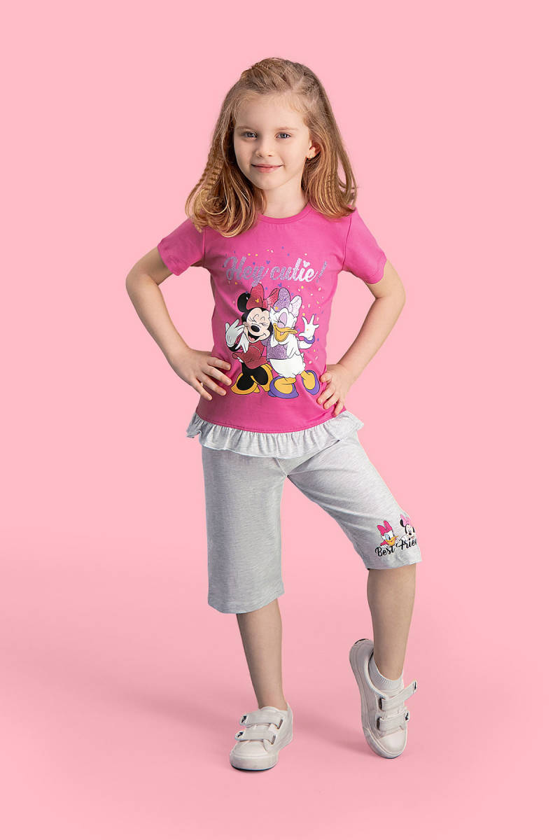 Minnie Mouse - Mickey & Minnie Mouse Lisanslı Fuşya Kız Çocuk Kapri Takım
