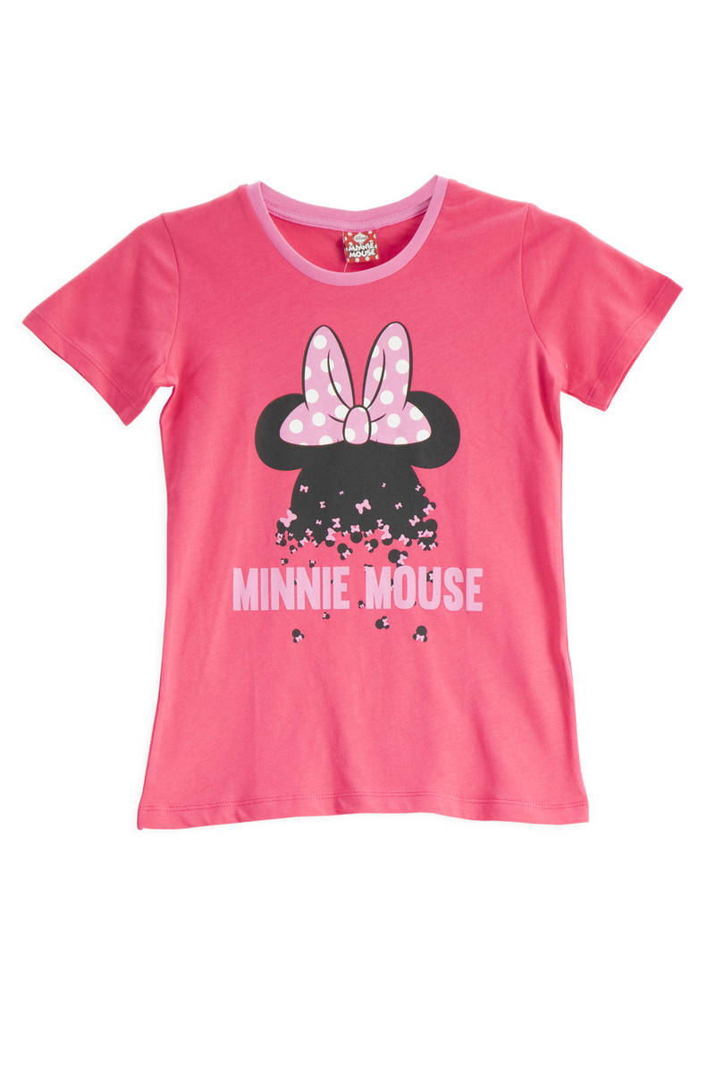 Minnie Mouse - Mickey & Minnie Mouse Lisanslı Fuşya Kız Çocuk T-Shirt