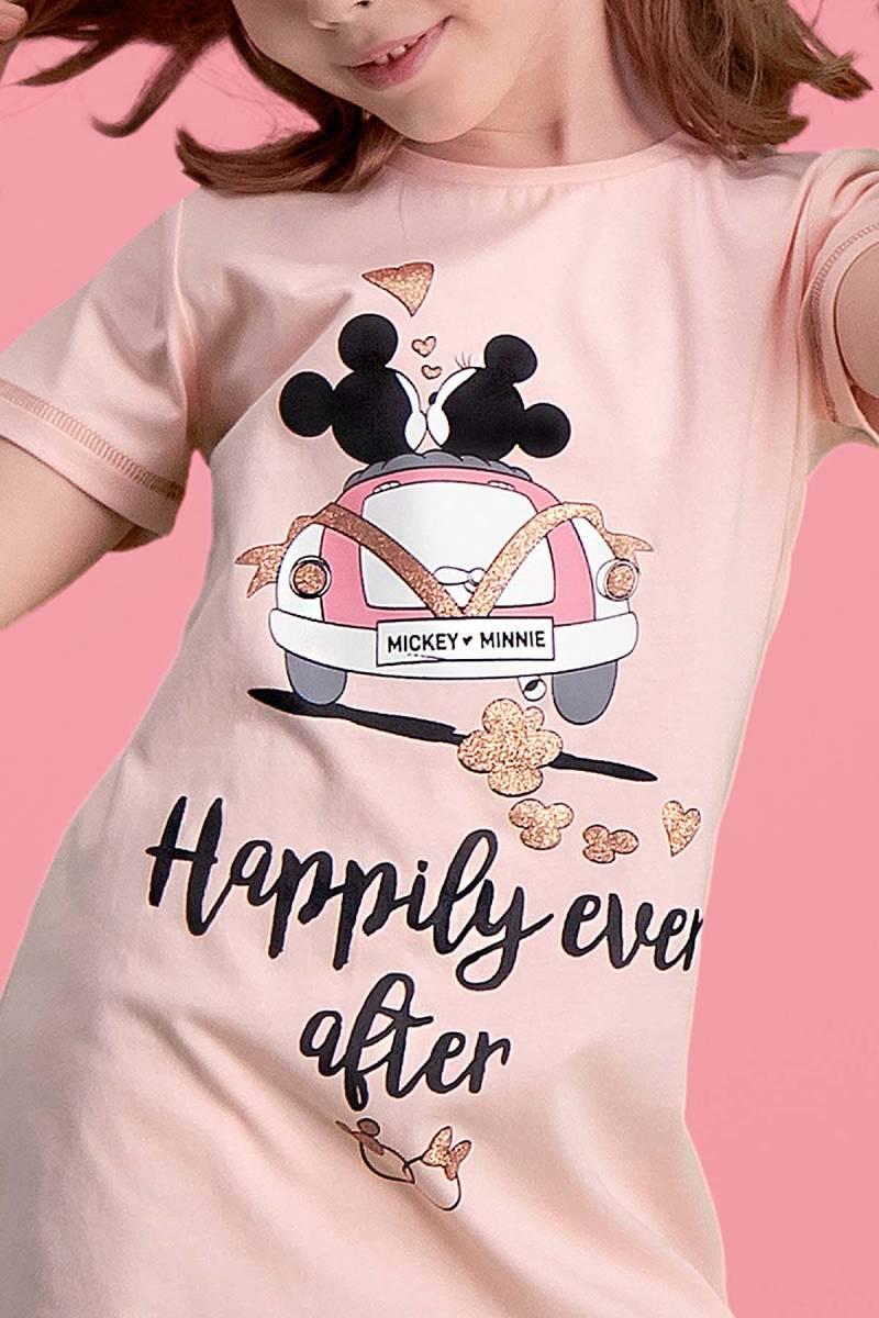 Minnie Mouse - Mickey & Minnie Mouse Lisanslı İnci Pembe Kız Çocuk Gecelik (1)