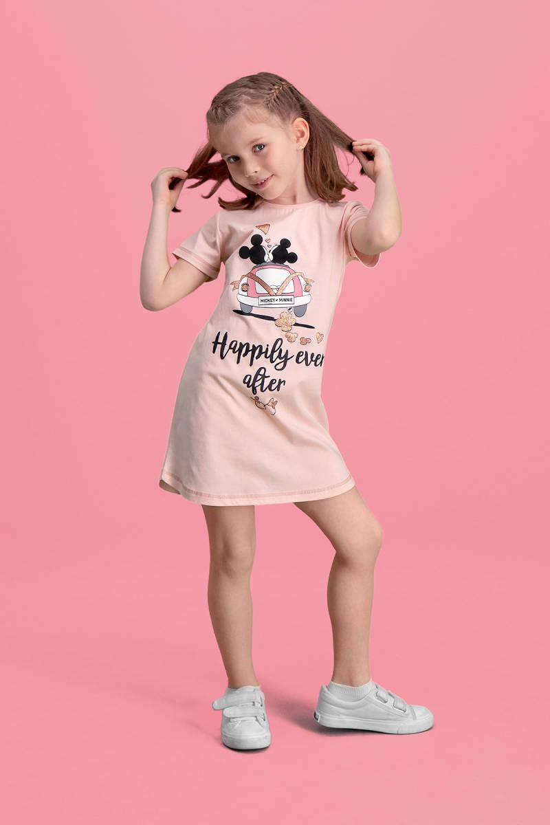 Minnie Mouse - Mickey & Minnie Mouse Lisanslı İnci Pembe Kız Çocuk Gecelik