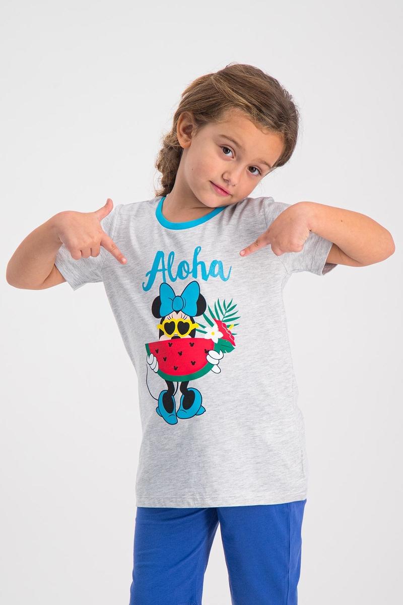 Minnie Mouse - Mickey & Minnie Mouse Lisanslı Karmelanj Kız Çocuk T-Shirt (1)