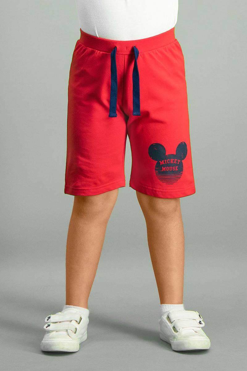 Mickey Mouse - Mickey & Minnie Mouse Lisanslı Kırmızı Erkek Çocuk Bermuda