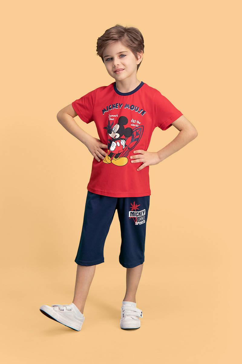 Mickey Mouse - Mickey & Minnie Mouse Lisanslı Kırmızı Erkek Çocuk Kapri Takım
