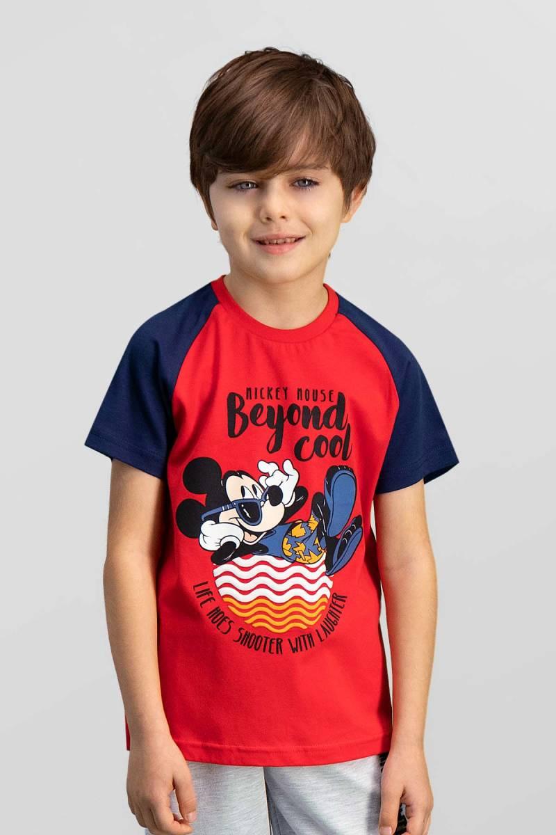 Mickey Mouse - Mickey & Minnie Mouse Lisanslı Kırmızı Erkek Çocuk T-Shirt