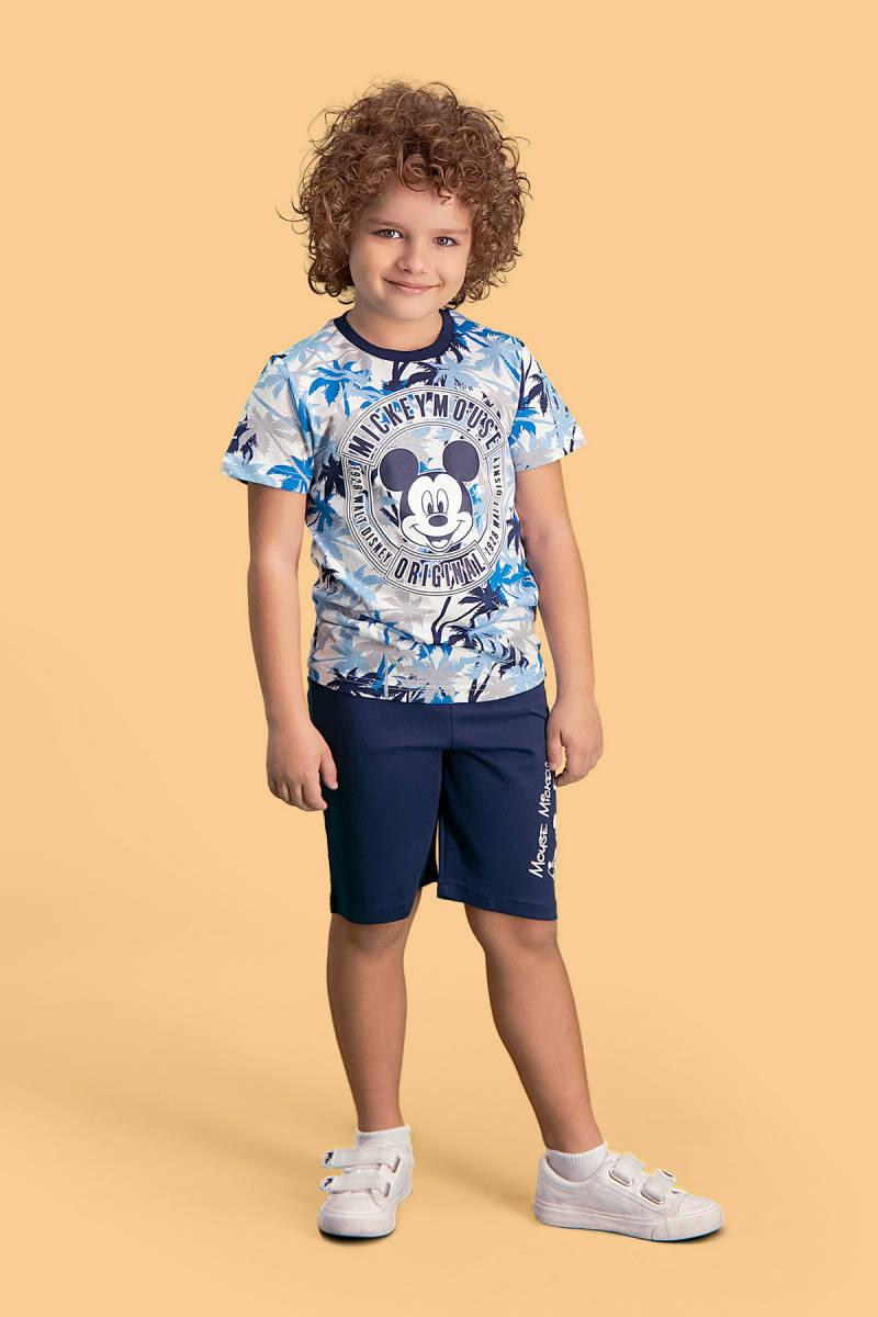 Mickey Mouse - Mickey & Minnie Mouse Lisanslı Krem Erkek Çocuk Bermuda Takım