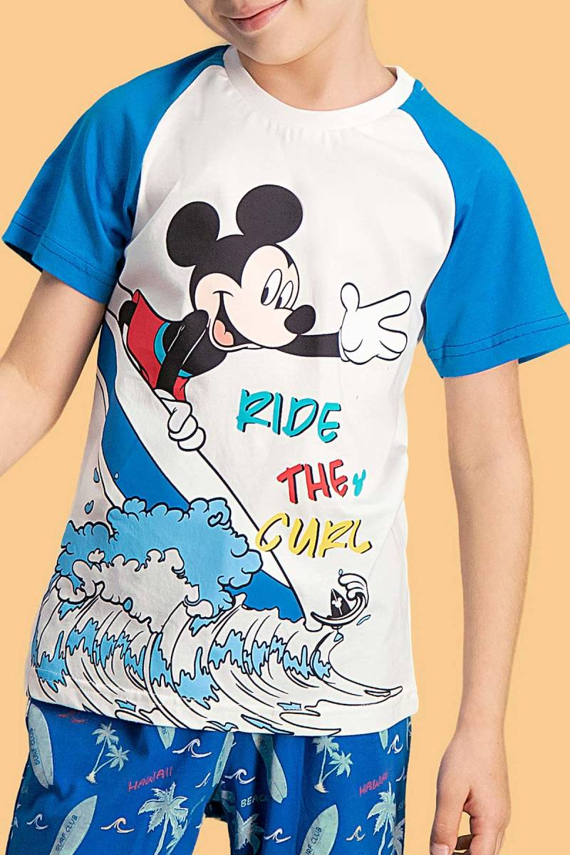 Mickey Mouse - Mickey & Minnie Mouse Lisanslı Krem Erkek Çocuk Kapri Takım (1)
