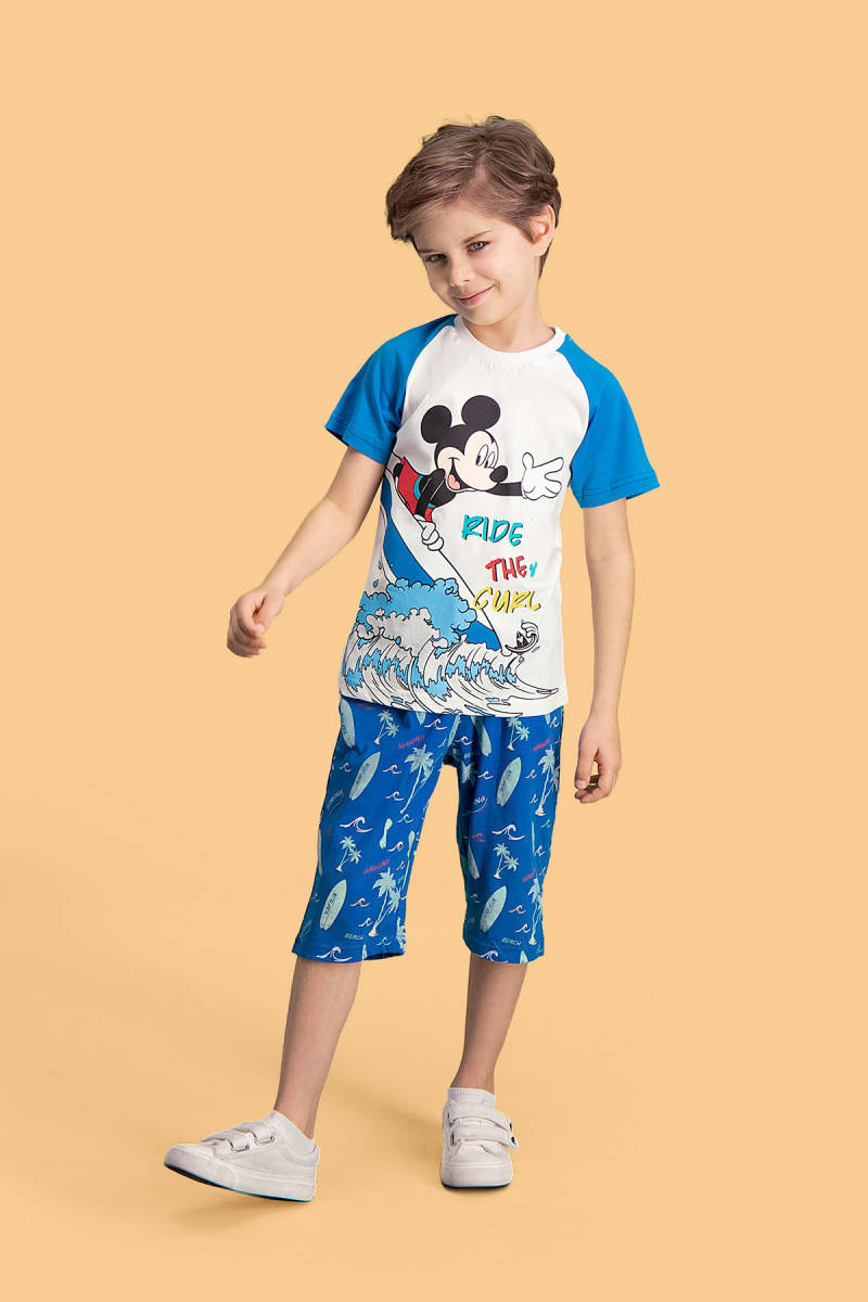 Mickey Mouse - Mickey & Minnie Mouse Lisanslı Krem Erkek Çocuk Kapri Takım