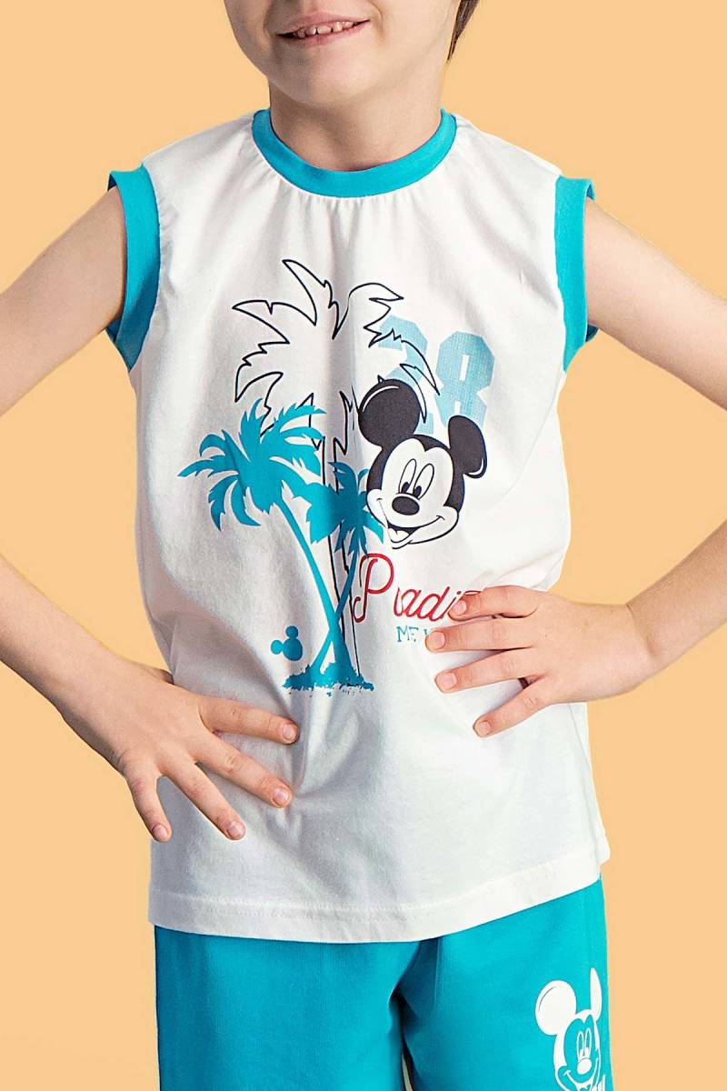 Mickey Mouse - Mickey & Minnie Mouse Lisanslı Krem Erkek Çocuk Şort Takım (1)