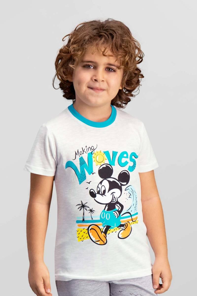Mickey Mouse - Mickey & Minnie Mouse Lisanslı Krem Erkek Çocuk T-Shirt