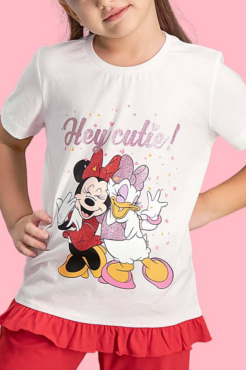 Minnie Mouse - Mickey & Minnie Mouse Lisanslı Krem Kız Çocuk Kapri Takım (1)