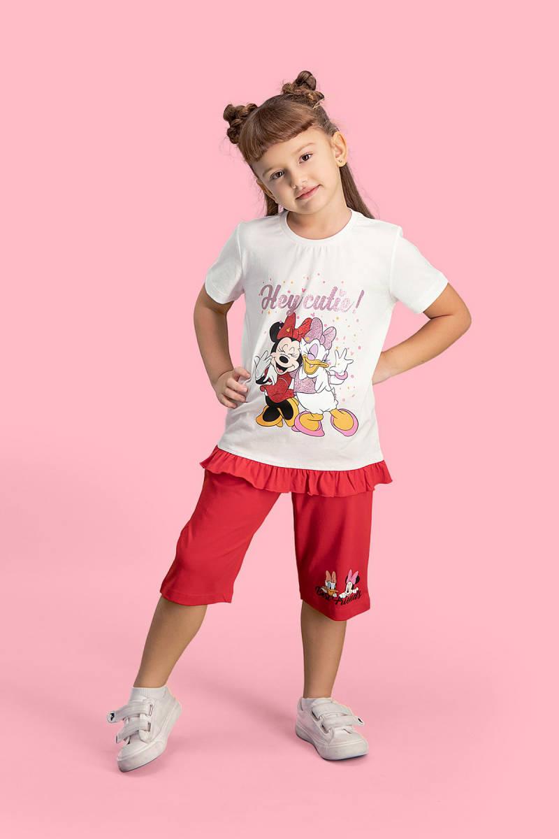 Minnie Mouse - Mickey & Minnie Mouse Lisanslı Krem Kız Çocuk Kapri Takım