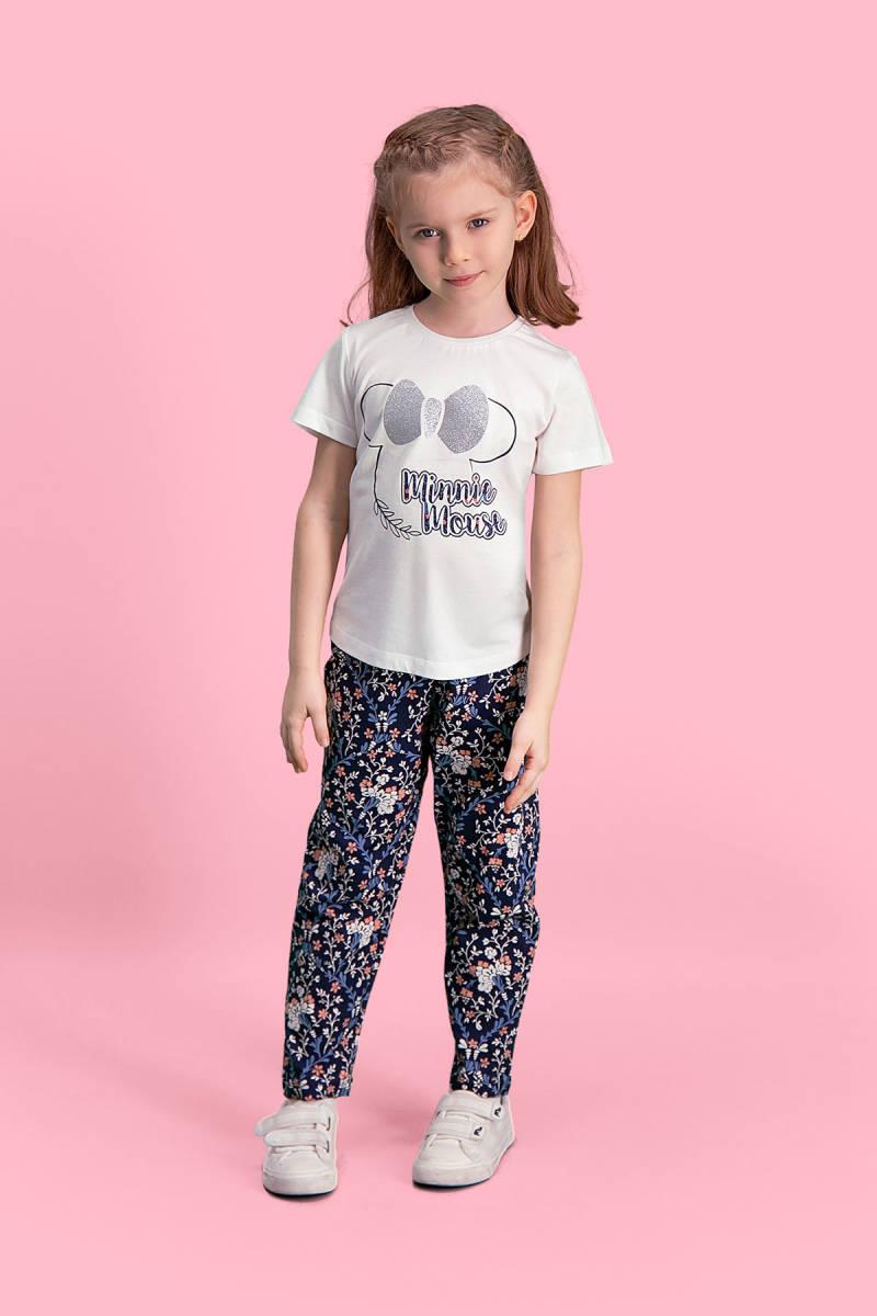 Minnie Mouse - Mickey & Minnie Mouse Lisanslı Krem Kız Çocuk Pijama Takımı