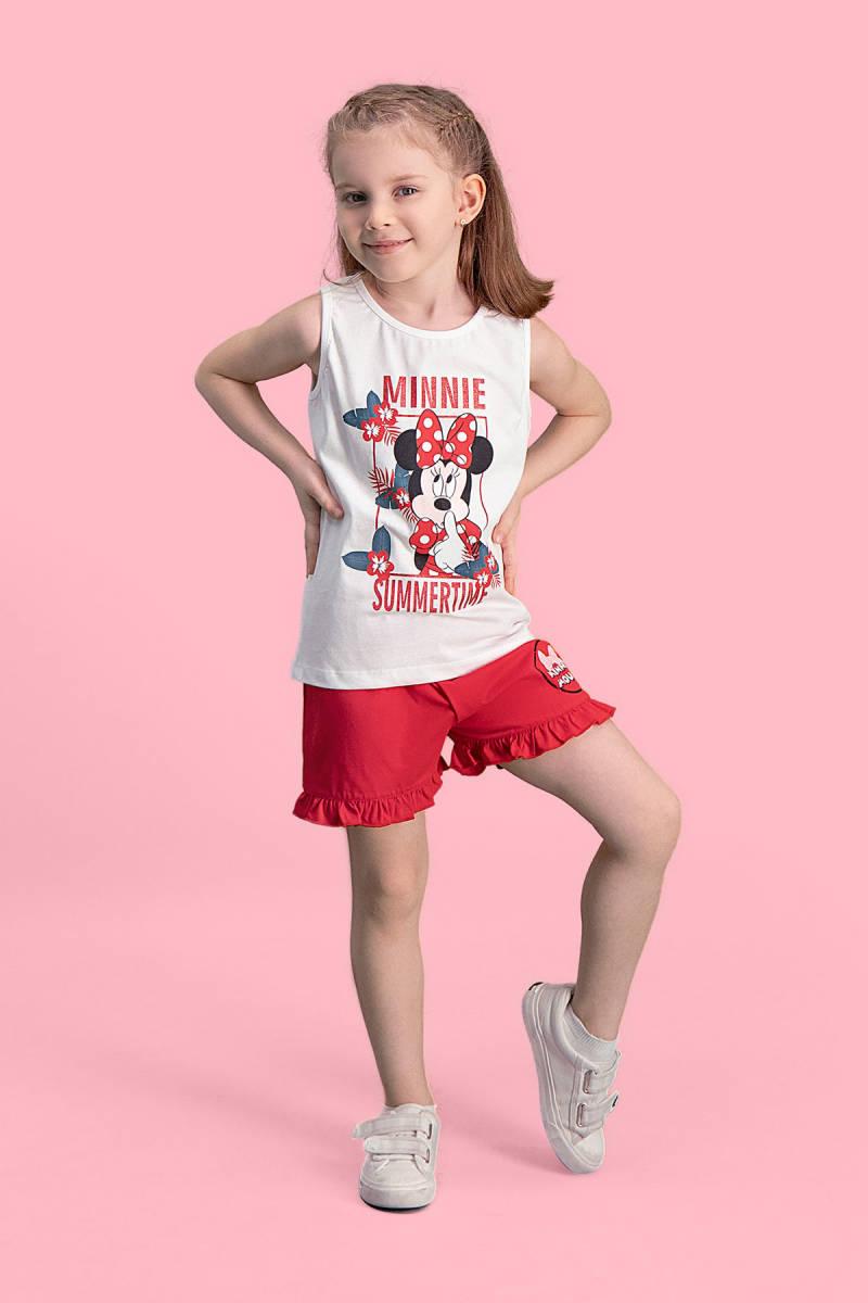 Minnie Mouse - Mickey & Minnie Mouse Lisanslı Krem Kız Çocuk Şort Takım